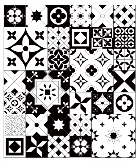 Motifs crédence et fond de hotte carreaux de ciment Noir & Blanc Ma nouvelle Décoration